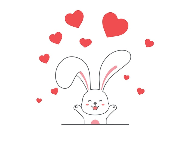 Hand zeichnen kaninchen mit herz