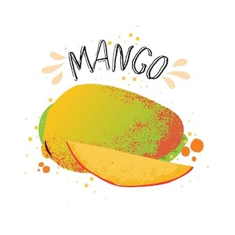 Hand zeichnen mango illustration. gelbe reife mango mit saftspritzer lokalisiert auf weißem hintergrund.