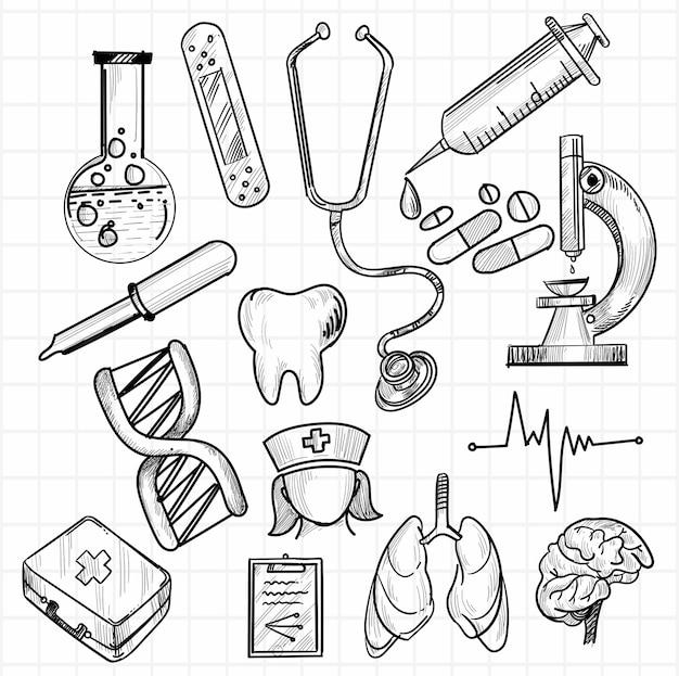 Hand zeichnen medizinische ikone skizze set design