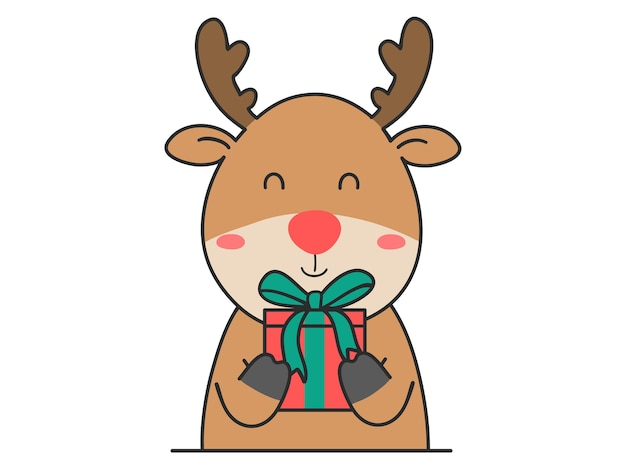 Hand zeichnen niedliche hirsche mit geschenkbox für weihnachten und neujahr.