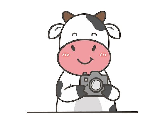 Hand zeichnen niedliche kuh mit kamera