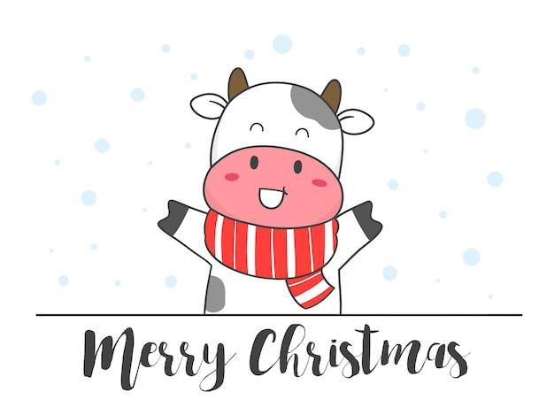 Hand zeichnen niedliche kuh mit schal für winter und weihnachten