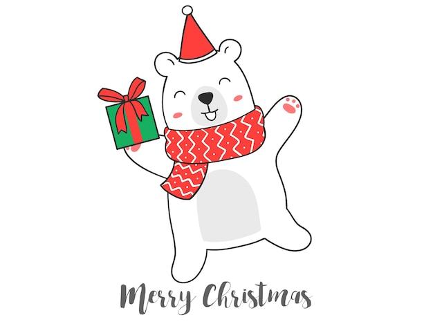Hand zeichnen niedlichen bären mit geschenkbox