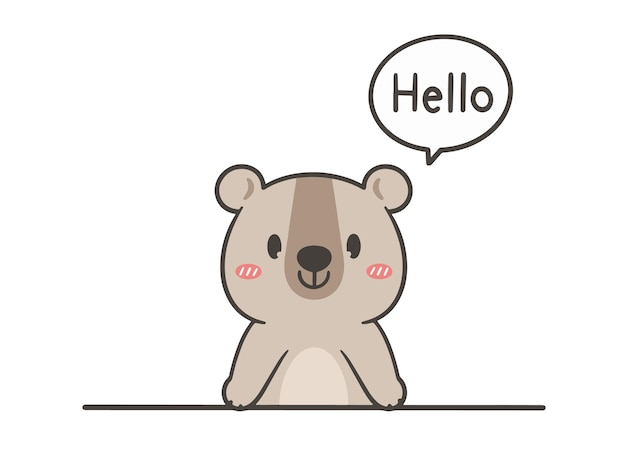 Hand zeichnen niedlichen bären sagen hallo