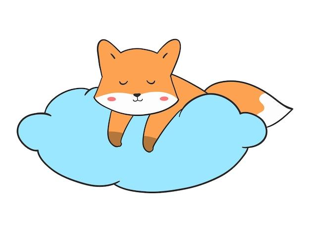 Hand zeichnen niedlichen fuchs, der auf wolke schläft