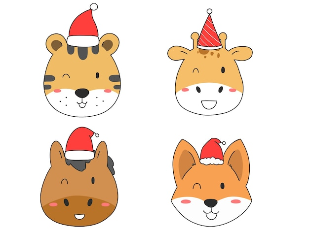 Hand zeichnen niedliches tier mit hut für weihnachten