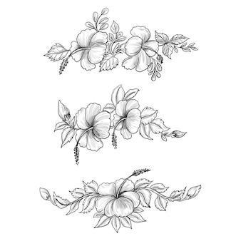 Hand zeichnen skizze blumen set design