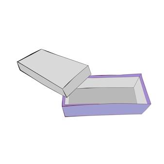 Hand zeichnen skizze vektor vorlage oder mockup lila schuhkarton, isoliert auf weiss