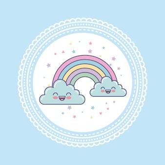 Hand zeichnen süße wolken