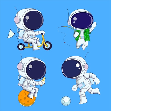 Hand zeichnen süßen astronauten