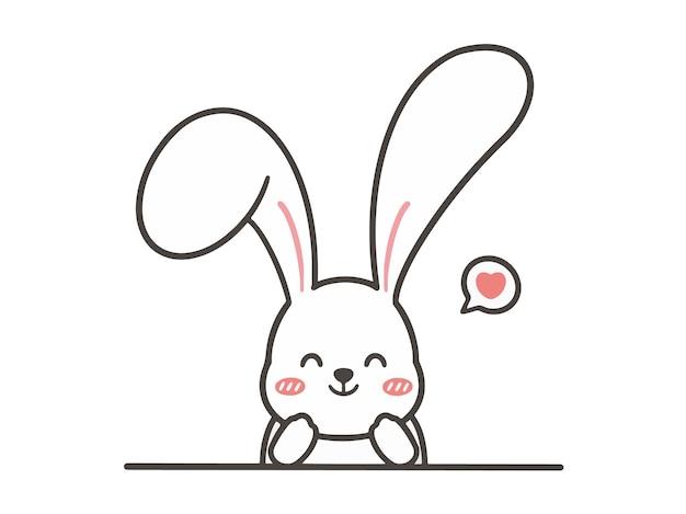 Hand zeichnen süßes kaninchen mit herz