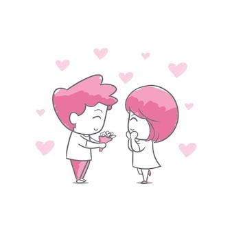 Hand zeichnen valentinstag paar