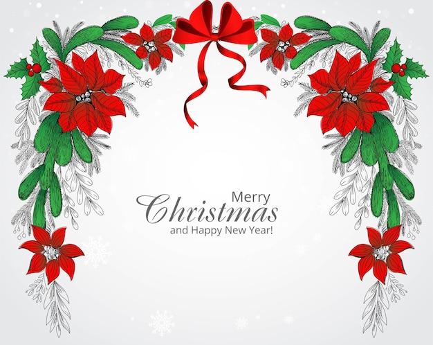 Hand zeichnen verzierten weihnachtskranz-feiertagskartenhintergrund