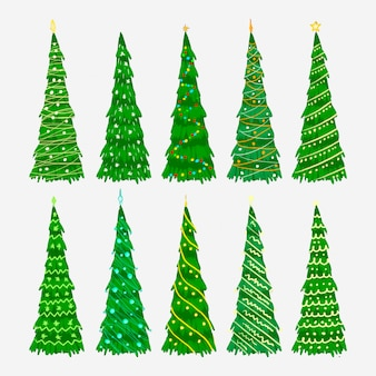 Hand zeichnen weihnachtsbäume gesetzt
