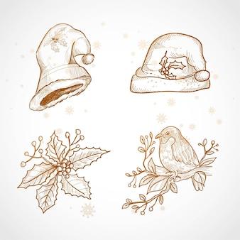Hand zeichnen weihnachtsikone skizze set design