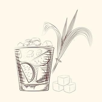 Hand zeichnen zuckerrohrblätter. alkoholcocktail im glas, zuckerstange und würfel