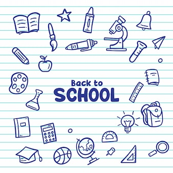 Hand zeichnen zurück in die schule