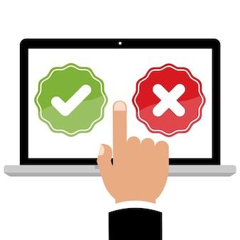 Hand zeigen auf laptop-computer mit feedback richtig und falsch online-umfrage