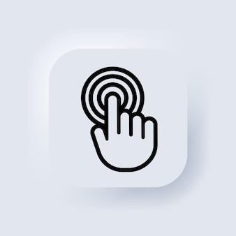 Hand-zeiger-symbol. hand-touchscreen-smartphone-symbol. smartphone-bildschirm mit klickendem finger. cursor-symbole vektor. neumorph. neumorphismus. vektor