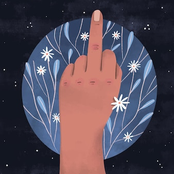 Hand zeigt das fick dich symbol mit blumen
