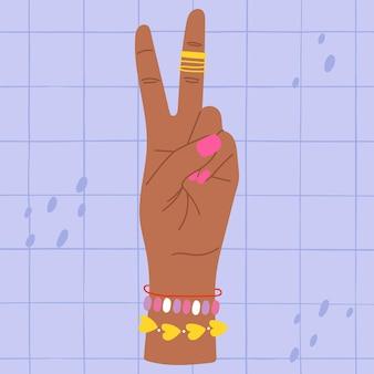 Hand zeigt zwei finger bunte illustration hand zählt zwei hand mit zwei erhobenen fingern