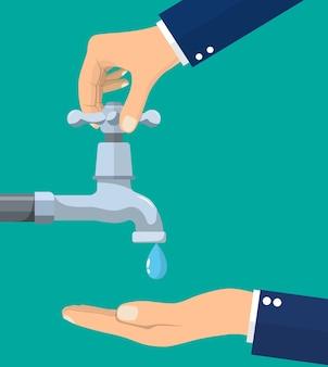 Hand zum trinken von leitungswasser geöffnet. trinken sie einen fallenden tropfen. flüssigkeit in der handfläche. wasserhahn auf- und zudrehen. wasser sparen. vektorillustration im flachen stil