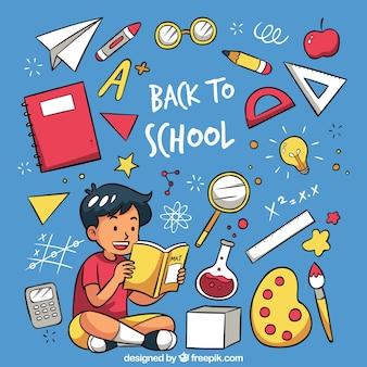Hand zurück zu Schule Hintergrund gezeichnet
