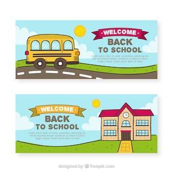 Hand zurück zu schule banner mit bus und gebäude