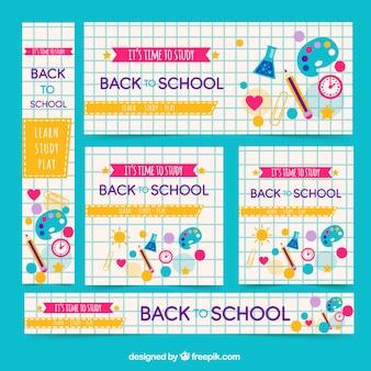 Hand zurück zu schule web-banner-sammlung