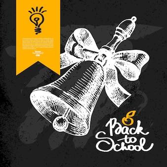 Hand zurück zum schulhintergrund gezogen. bildungsskizze. vektor-illustration. tafeldesign