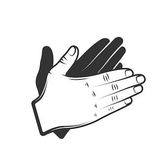 Handapplaus lokalisiert auf weißem hintergrund.