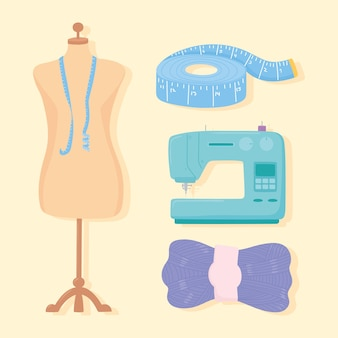 Handarbeit cloting mannequin maschine maßband und wollkugel illustration