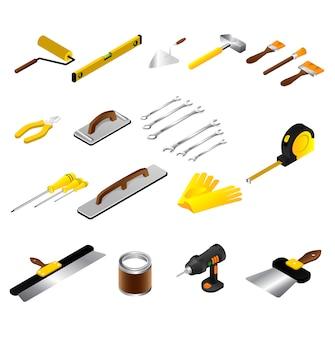 Handarbeiter des isometrischen reparaturwerkzeugs des bauherren auf selbstgebauten instrumenten, die auf weiß isoliert werden.