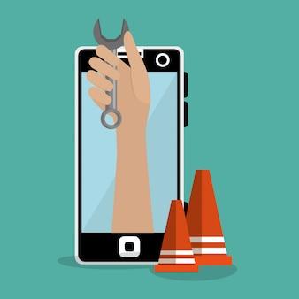 Handarbeiter im bau mit smartphone