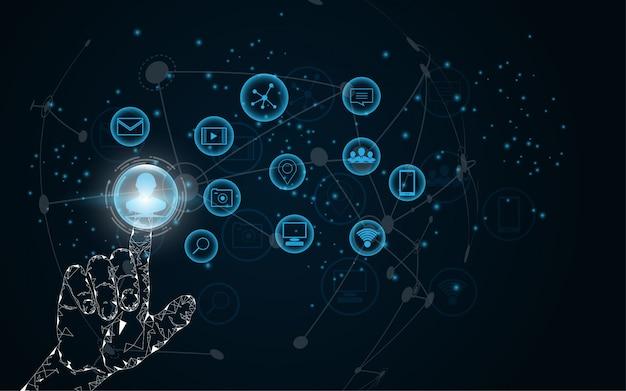 Handauswahl, berühren sie die zukünftige abstrakte technologie
