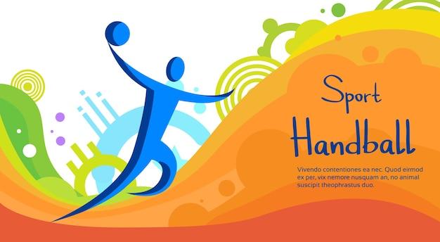Handball-spieler-sport-wettbewerb-bunte fahne