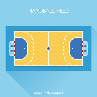 Handballfeld mit draufsicht in der flachen art