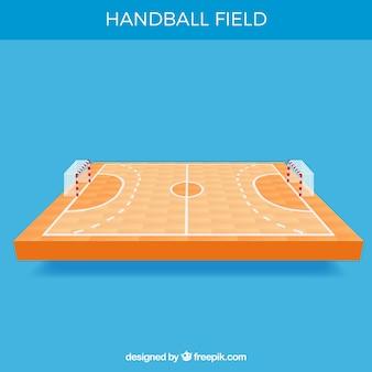 Handballfeld mit perspektivenansicht
