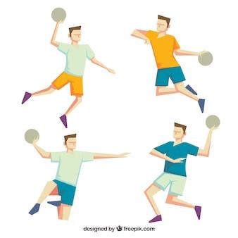 Handballspielersammlung mit flachem design