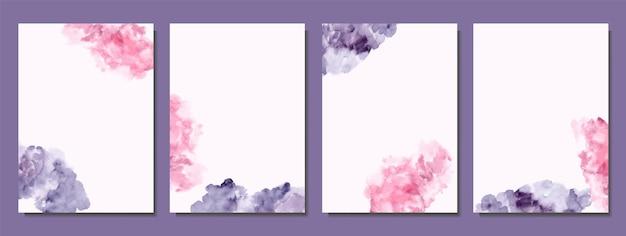 Handbemalt aus rosa und tiefvioletten abstrakten aquarellabdeckungen