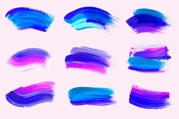 Handbemalte acrylpinsel-strichsammlung