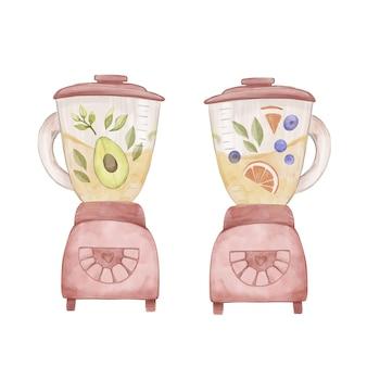Handbemalte aquarell-smoothies im mixerglas