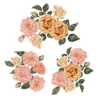 Handbemalte aquarellstraußensatz der rosenblumenanordnung