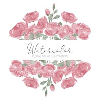 Handbemalte rosenblumenrahmen-aquarellart mit zweig