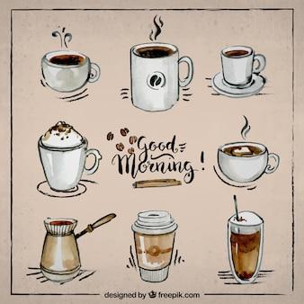 Handbemalte sammlung von kaffee