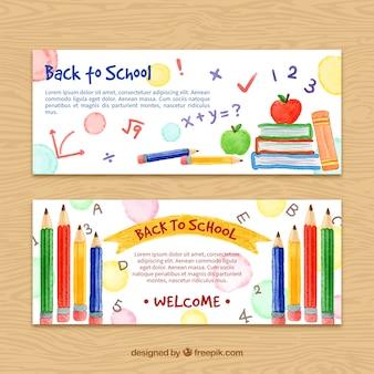 Handbemalte zurück in die schule banner