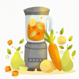 Handbemalter aquarell-smoothie im mixerglas