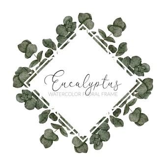 Handbemalter rahmen mit eukalyptusaquarell
