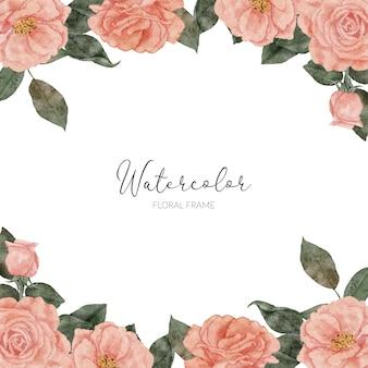 Handbemalter rahmen mit rosenblumenaquarell