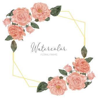 Handbemalter rahmen rustikal mit rosenblumenaquarell